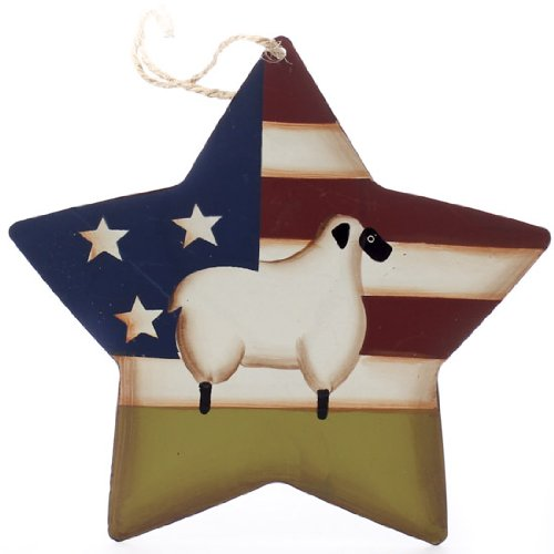 Package of 6 Primitive Americana Sheep Rustic Star Ornaments with Natural Jute Hanger (Rustic Angel Ornament)