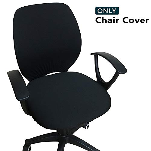 Melaluxe Computer Office Chair Cover - Protective & Stretchable Universal Chair Covers Stretch Rotating Chair Slipcover (Black) (Office Chair Back Slipcovers)