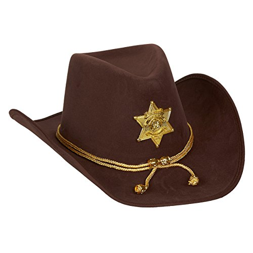Cheap Halloween Outfit (Novelty Felt Cowboy Sheriff's Hat - Fun Party Outfit Costume with Gold Braid for Halloween, Office Parties)