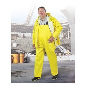 ONGUARD 76017 3-Piece PVC on Polyester Webtex Suit with Detachable Hood, Yellow, Size XL