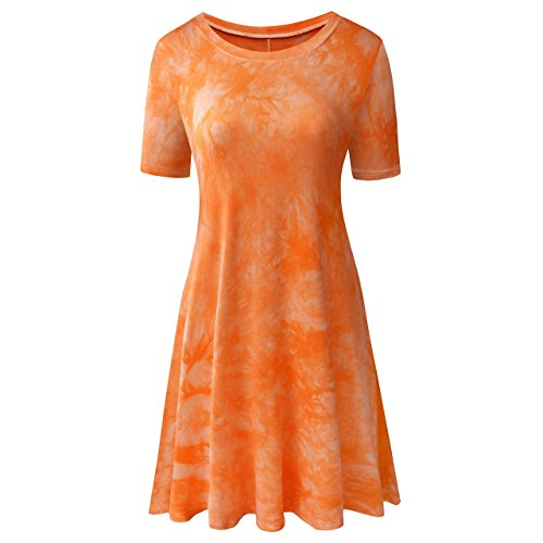 (TINYHI Women's Casual Short Sleeve Tunic Tie Dye T-Shirt Comfy Loose Swing Dress Orange,X-Large)
