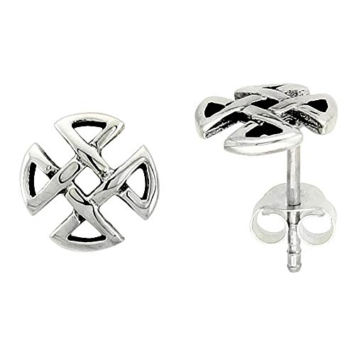 (Sterling Silver Quaternary Celtic Knot Stud Earrings, 1/4 inch)