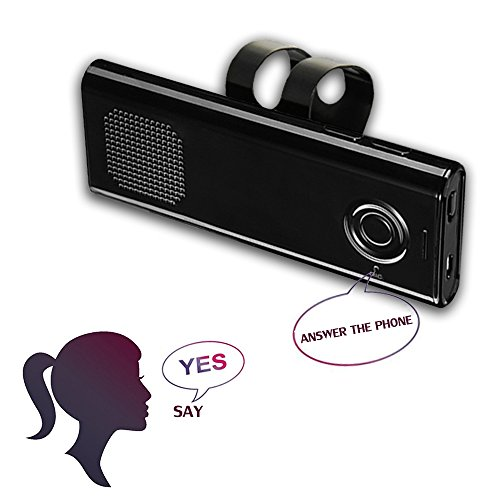YETOR Bluetooth Handsfree, supports voice control Car Speakerphone Sun Visor In-car kit Multipoint Wireless Connection with Clip for iPhone, iPad, Samsung Galaxy, HTC, LG, Android Phones & Tablets by YETOR
