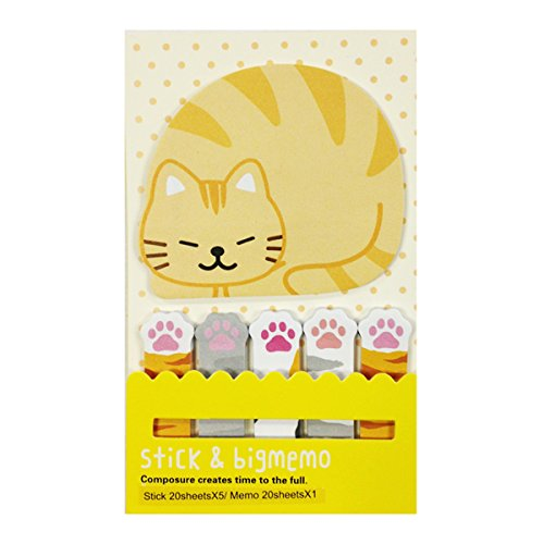 Wrapables Bookmark and Memo Sticky Notes, Kitten and Paws