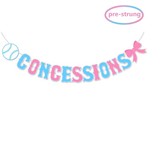 Kitticcino Concessions Banner for Baseball or Bows Gender Reveal, Boy or Girl He or She Baby Shower Party Decorations, Sports Party Supplies, Pre Strung & Ready to Hang -