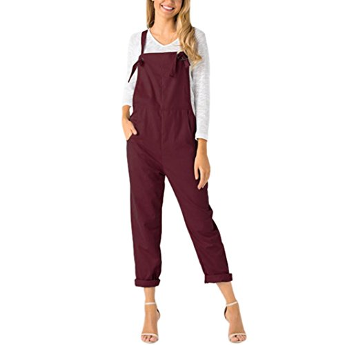 Manxivoo Women Bib Overalls Loose Dungarees Jumpsuit Rompers Pants Trousers With Front Pocket (Red, M) Classic Dungaree