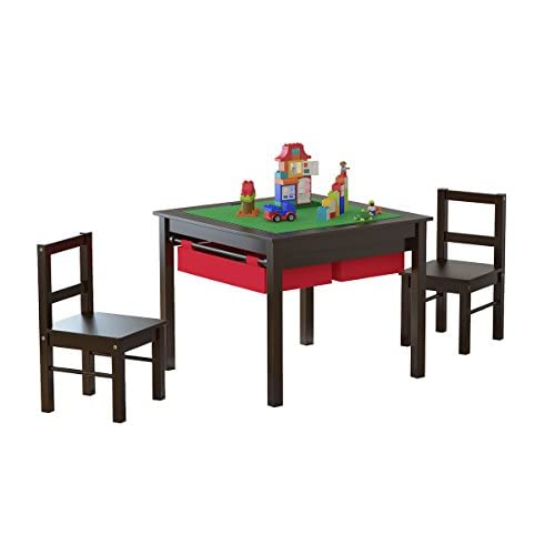 Kids Table And Chairs Set Espresso: UTEX 2-in-1 Kids Multi Activity Table And 2 Chairs Set