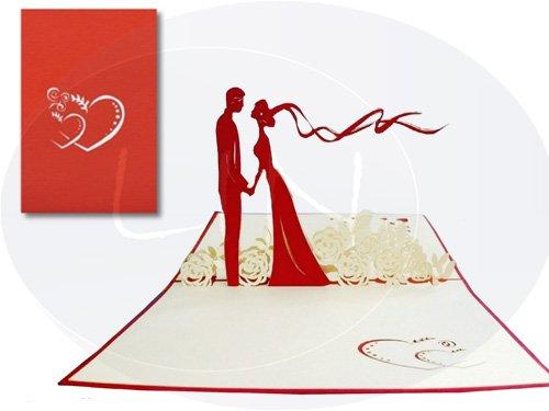 LIN POP UP Karte, Hochzeitskarten, Hochzeitseinladung, Glückwunschkarten, Liebe Brautpaar auf der Blumenwiese (#74)