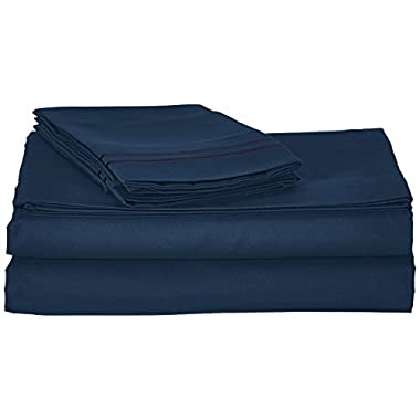 Clara Clark Supreme 1500 Collection 4pc Bed Sheet Set - Full (Double) Size, Navy Blue