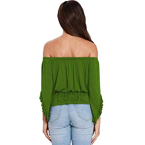 Green Shirt T Tops Volants 3 T Ourlet 4 paules Manches dnudes Ourlet Femmes Sexy Shirts p6xwSqdB