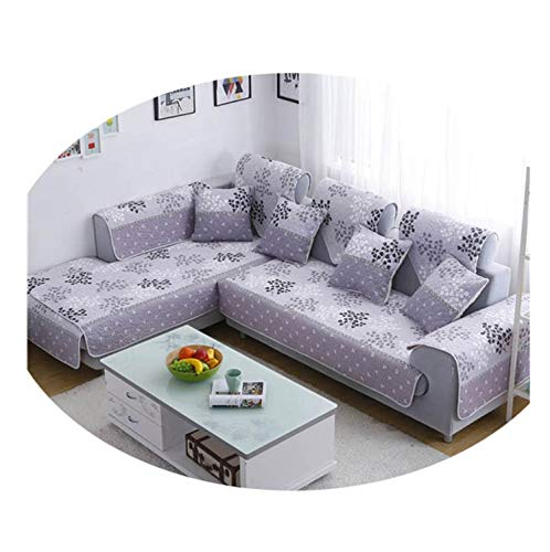 Corner Sofa Cover L Shape Sectional Couch Slipcover Single-Sided Print Cotton Quilting Sofa Towel Couch Protector SC522-01 Cushion Cover