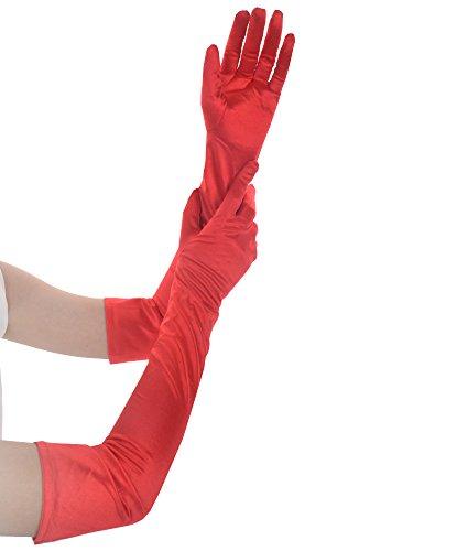 (JISEN Women Formal Bridal Satin Banquet Party Wedding Opera Gloves Gift Long 22 Inch)