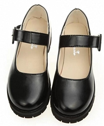 Women's Girl's Lolita Low Top Japanese Students Maid Uniform Dress Shoes (7, (Black Dress Uniform Shoes)