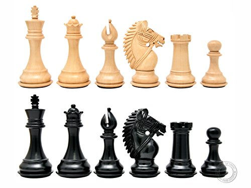 House of Chess - Ebonized / Boxwood Rio Staunton Chess Pieces - King Height: 4 Inch (102 mm) - 2 Extra Queens - Triple Weighted