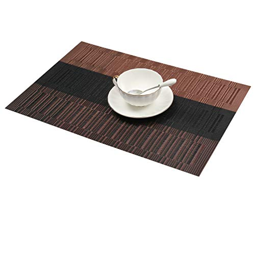 Large Product Image of SHACOS Exquisite PVC Placemats Set of 6 Woven Vinyl Placemats for Dining Table Heat Resistant Table Mats Wipeable (6, Ombre Coffee and Black)