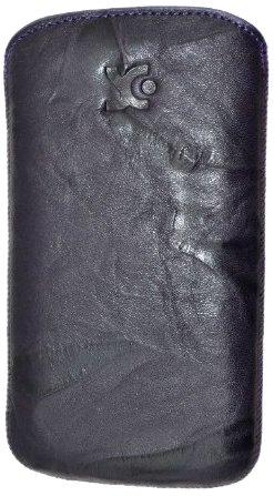 Original Suncase Echt Ledertasche (Lasche mit Rückzugfunktion) für Samsung Galaxy SIII i9300 in wash-dunkellila