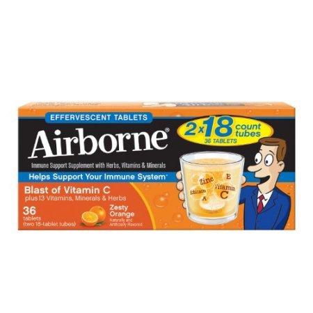: Airborne Effervescent Health Immune Boosting Formula Zesty Orange 36 Tablets (Bonus Size)