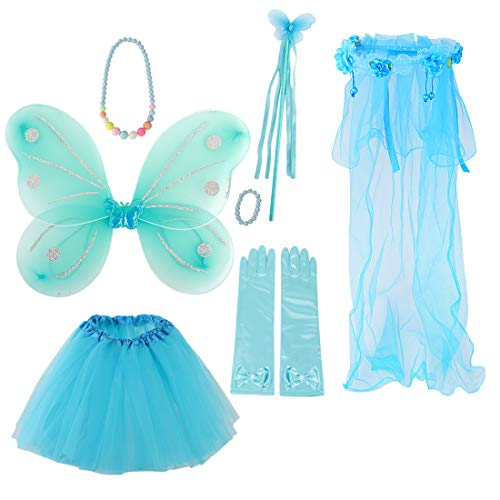 kilofly Princess Party Favor Butterfly Fairy Costume Dress Up Role Play Value Pack ()