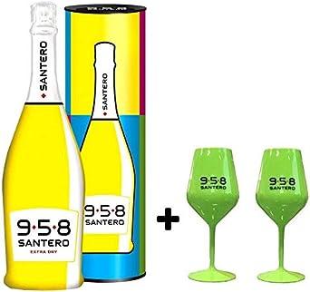 958 VINO ESPUMOSO EXTRA SECO BOTELLA POP ART DE 75 CL EN ESTUCHE CON DOS COPAS VERDES: Amazon.es: Alimentación y bebidas