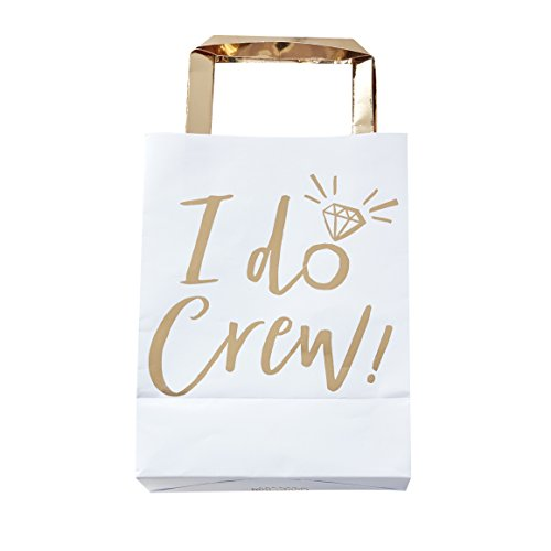 Ginger Ray ID-423 White & Gold Foiled I Do Crew Party Bags-5 Pack