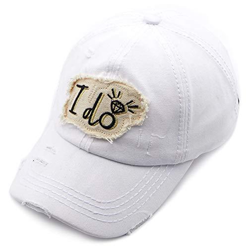C.C Exclusives Hatsandscarf Washed Distressed Cotton Denim Ponytail Hat Adjustable Baseball Cap (BA-2020) (White, I do) -