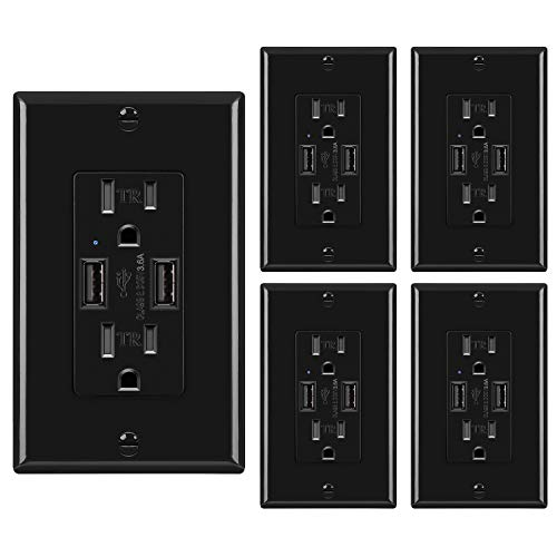 [5 Pack] BESTTEN 3.6A USB Wall Receptacle with 15A Tamper Resistant Outlets, Dual USB Charging Ports for iPhone/iPad/Pixel/Samsung/LG and More, UL Listed, Black