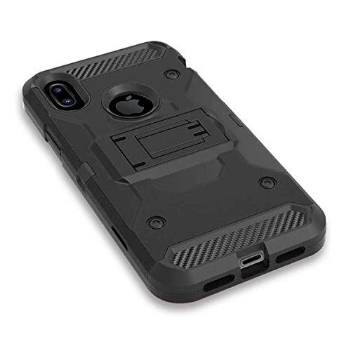 iPhone X Handycover, MOONMINI für iPhone X 3 in 1 Hybrid Hülle Stoßfest Back Abdeckung Non-slip Ganzkörper-Schutzschale mit Belt Clip Holster und Kickstand Schwarz