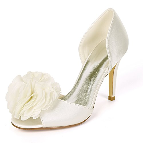 White Shoes YC Large Size Party L Toe Satin Flowers Ivory Ivory Peep Wedding Heel Women High BtqwX