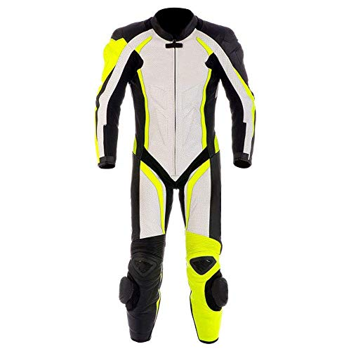 Motorcycle New Yellow/White One piece Leather Track Racing Suit CE Approved Protection (MED) ()