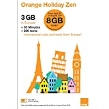 Orange Holiday Europe Prepaid SIM Card - 3GB Internet Data in 4G/LTE (Data tethering Allowed) + 30mn + 200 Texts from Europe to Any Country Worldwide