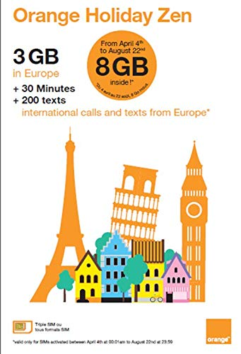 Orange Holiday Europe - 3GB Internet Data in 4G/LTE (8GB for SIMs Activated Before August 22nd) + 30mn + 200 Texts from 30 Countries in Europe to Any Country Worldwide