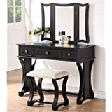 Vanity Set Rustic Style in Black Finish