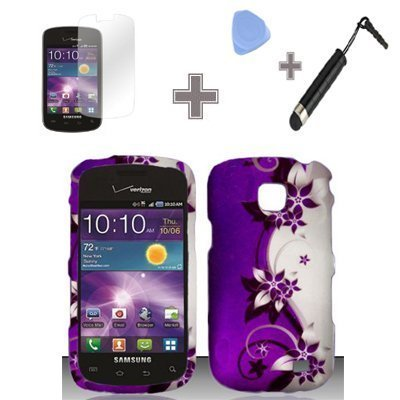 Rubberized-Purple-Silver-Vines-flower-Snap-on-Design-Case-Hard-Case-Skin-Cover-Faceplate-with-Screen-Protector-Case-Opener-and-Stylus-Pen-for-Samsung-Illusion-Galaxy-Proclaim-i110-Verizon-Straight-Tal
