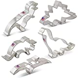 Dinosaur Cookie Cutter Set - 5 Piece - Triceratops, Stegosaurus, T-Rex, Brontosaurus and Pterodactyl - Ann Clark - US Tin Plated Steel