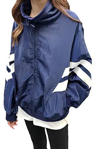 Running Relaxed Women's Leisure Coat Jacket Pockets Stand Zip Blue Collar XINHEO wxBqdCtx