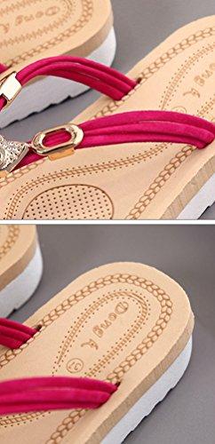 Sentao Mujeres Verano Flip Flops Zapatos Bohemia Playa Sandalias Zapatillas con cuentas Rose