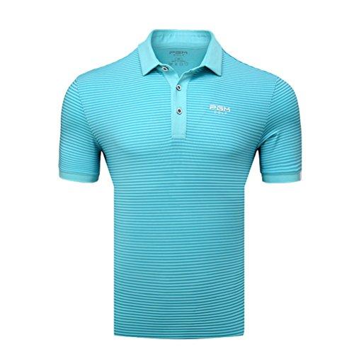 Kayiyasu ポロシャツ メンズ ゴルフウェア UVカット ゴルフシャツ オシャレ スポーツシャツ 男性用 半袖 Tシャツ 運動着 日焼け止め 021-xsty-yf125(XL ターコイズ)