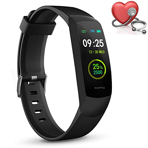MorePro Fitness Tracker HRV with Heart Rate Oxygen Saturation SpO2 Monitor, Waterproof Color Screen Activity Health Trackers with Sleep Tracking Calorie Step Counter Pedometer for Women and Men