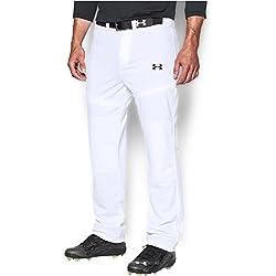 Under Armour Men's Clean Up Baseball Pants, White/Black, Medium