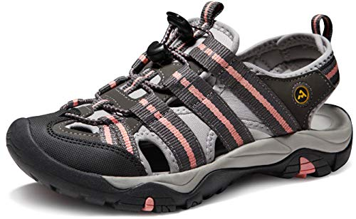 ATIKA AT-W107-GCR_Women 11 B(F) Women's Sports Sandals Trail Outdoor Water Shoes 3Layer Toecap W107
