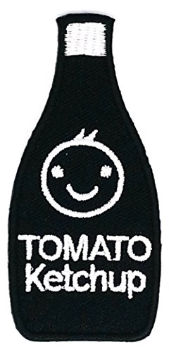 1.5 inches x 3.0 inches Black Tomato Ketchup Smiley Sauce Bottle Cartoon Sew Iron on Embroidered Applique Craft Handmade Baby Kid Girl Women Cloths DIY Costume Accessories for $<!--$5.39-->