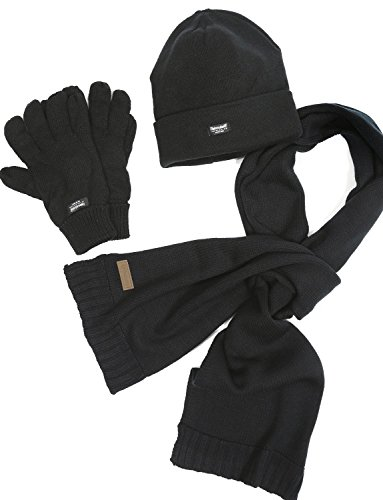 VEDONEIRE Mens 3 piece Set - Hat Scarf Gloves set (3016 BLACK) winter warm fleece (Usa Genuine Leather 3 Piece)