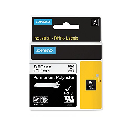 A1 Polyester (DYMO Industrial Permanent Labels for DYMO LabelWriter and Industrial Label Makers, Black on White, 3/4