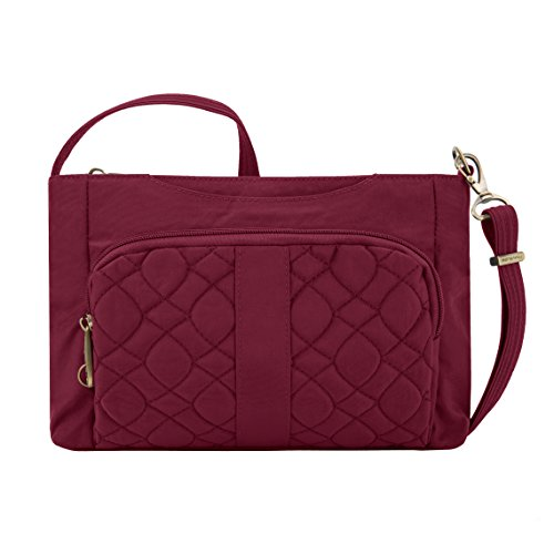 Travelon Anti-theft Signature Quilted E/W Slim Bag, Ruby For Sale