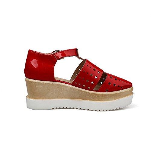 AgooLar Mujeres Puntera Cuadrada Hebilla Pu Sólido Plataforma Sandalia Rojo