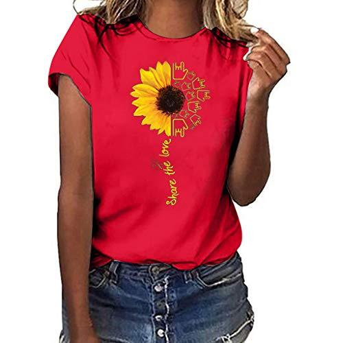 Aniywn Summer T-Shirt, Women Sunflower Print Loose Round Neck Short Sleeve Basic Blouse Tops Red]()