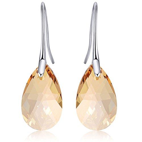 Teardrop DIY Swarovski Crystals Dangle Earrings Made with Genuine Platinum Plated By Ginasy (Teardrop yellow) ()