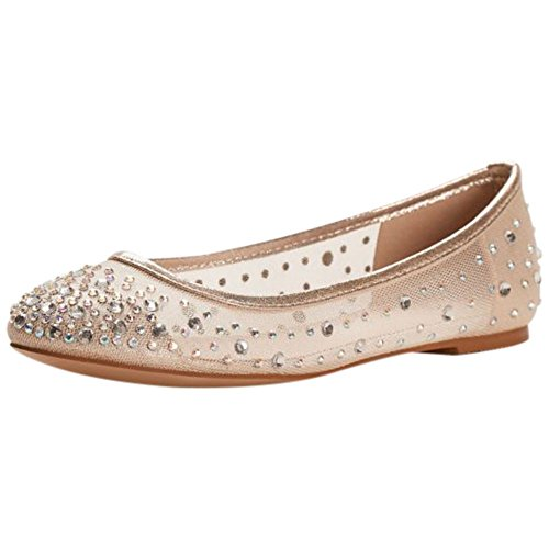 Mesh Ballet Flat With Scattered Crystals Style ABABA31, Nude Metallic, 7