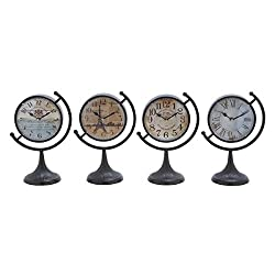 Deco 79 92201 Metal Desk Clock, 4 Assorted, 12 by 8