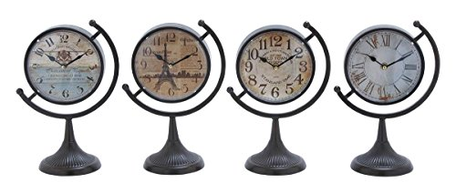 Deco 79 92201 Metal Desk Clock, 4 Assorted, 12 by - Orleans Saints New Desk Clock